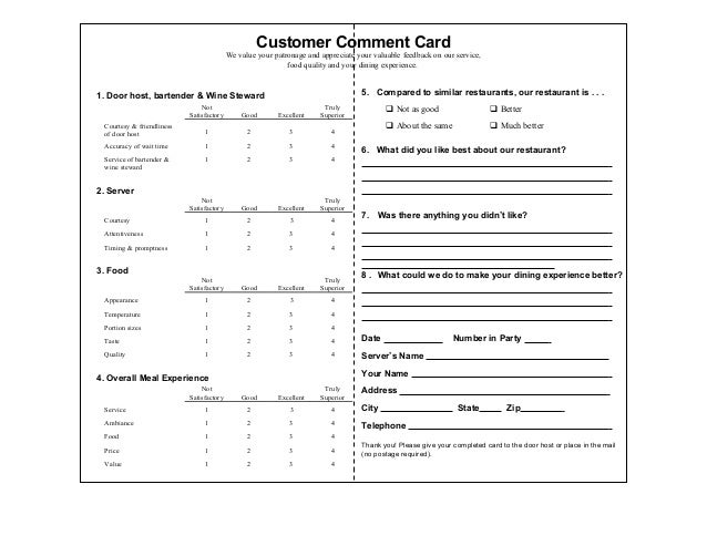 Customer comment cards