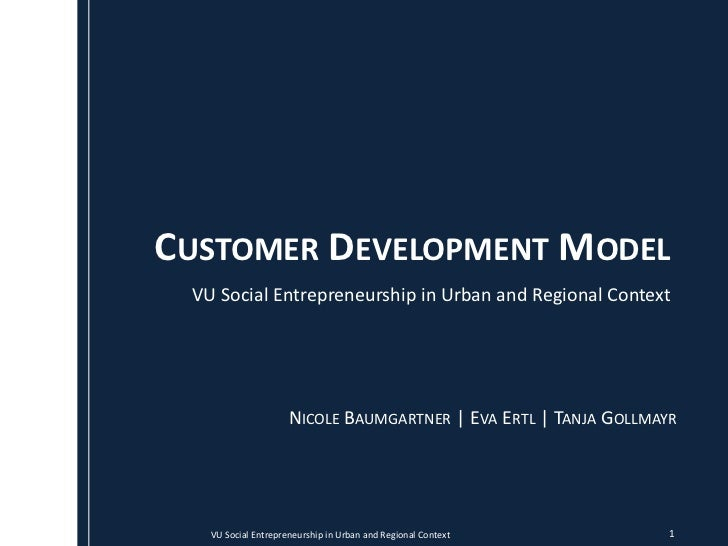 CUSTOMER DEVELOPMENT MODEL VU Social Entrepreneurship in Urban and Regional Context                     NICOLE BAUMGARTNER...