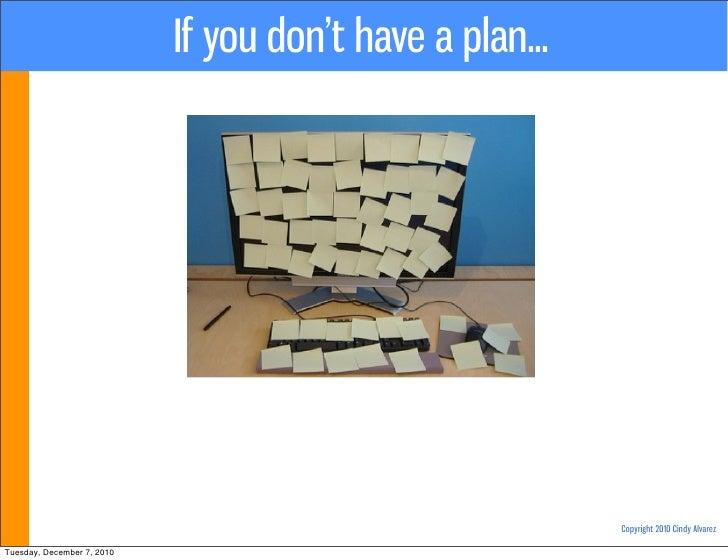 If you don't have a plan...                                                          Copyright 2010 Cindy AlvarezTuesday, ...