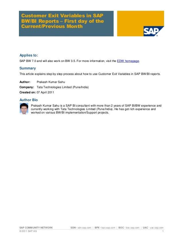 SAP COMMUNITY NETWORK SDN - sdn.sap.com | BPX - bpx.sap.com | BOC - boc.sap.com | UAC - uac.sap.com © 2011 SAP AG 1 Custom...