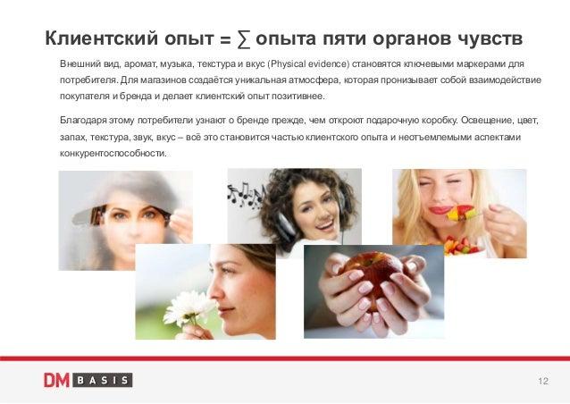 12 Внешний вид, аромат, музыка, текстура и вкус (Physical evidence) становятся ключевыми маркерами для потребителя. Для ма...