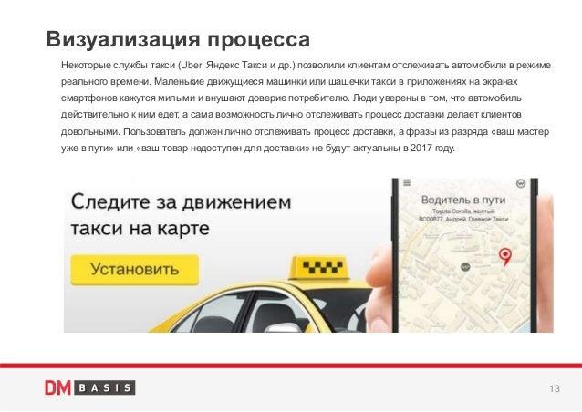 13 Некоторые службы такси (Uber, Яндекс Такси и др.) позволили клиентам отслеживать автомобили в режиме реального времени....