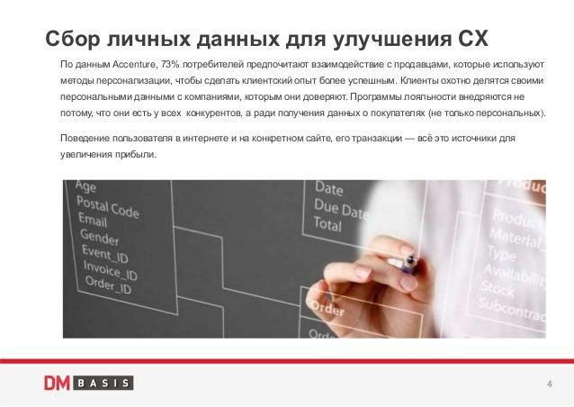 4 По данным Accenture, 73% потребителей предпочитают взаимодействие с продавцами, которые используют методы персонализации...