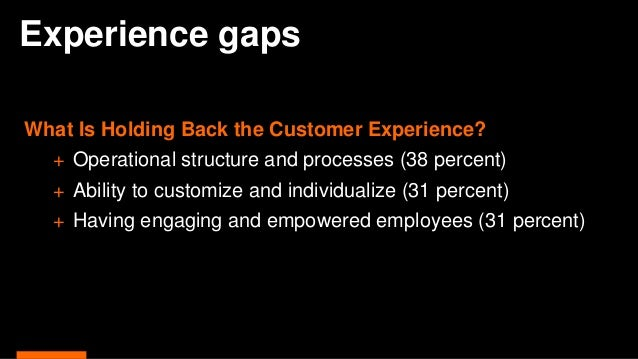 Experience gaps What Is Holding Back the Customer Experience? + Operational structure and processes (38 percent) + Ability...