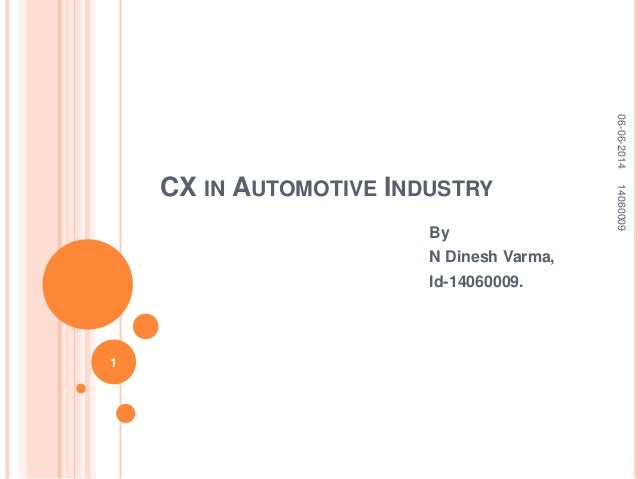 CX IN AUTOMOTIVE INDUSTRY By N Dinesh Varma, Id-14060009. 06-06-201414060009 1