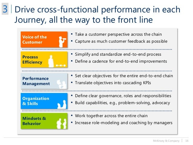 McKinsey & Company   16 Drive cross-functional performance in each Journey, all the way to the front line ▪ Take a custome...
