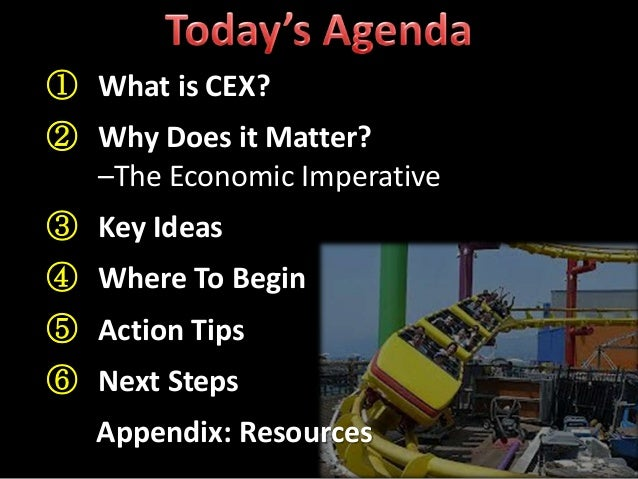 ① What is CEX? ② Why Does it Matter? –The Economic Imperative ③ Key Ideas ④ Where To Begin ⑤ Action Tips ⑥ Next Steps Appe...
