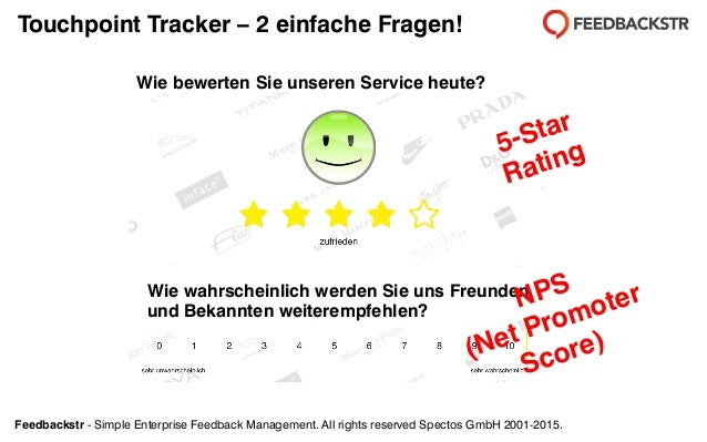 Feedbackstr - Simple Enterprise Feedback Management. All rights reserved Spectos GmbH 2001-2015. Touchpoint Tracker – 2 ei...