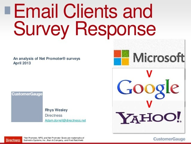 Email Clients andSurvey Response*Net Promoter, NPS, and Net Promoter Score are trademarks ofSatmetrix Systems, Inc., Bain ...