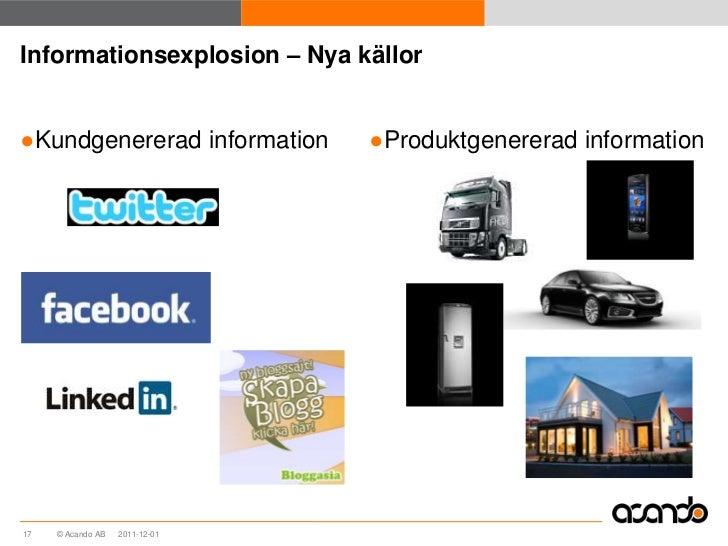Informationsexplosion – Nya källor●Kundgenererad information      ●Produktgenererad information17   © Acando AB   2011-12-01
