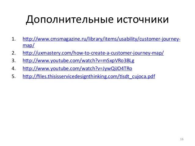 Дополнительные  источники  1. hp://www.cmsmagazine.ru/library/items/usability/customer-‐journey-‐  map/  2. hp://uxmas...