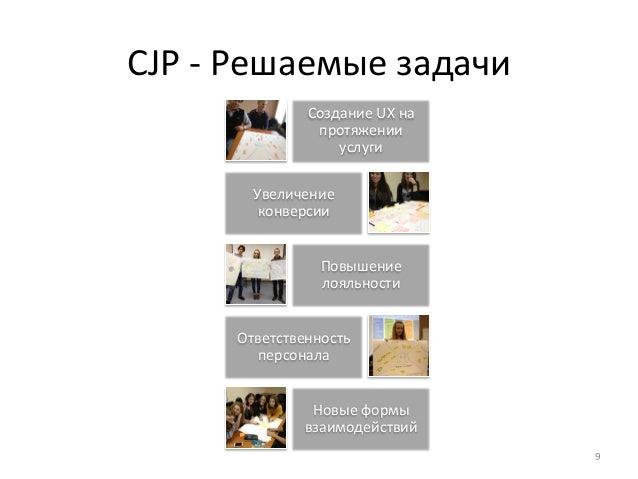 CJP  -‐  Решаемые  задачи  Создание  UX  на  протяжении  услуги  Увеличение  конверсии  Повышение  лояльности  Ответствен...