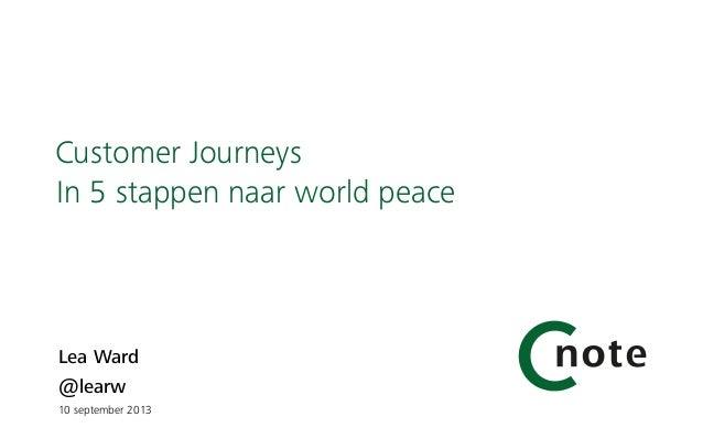 Lea Ward @learw  10 september 2013 Customer Journeys In 5 stappen naar world peace