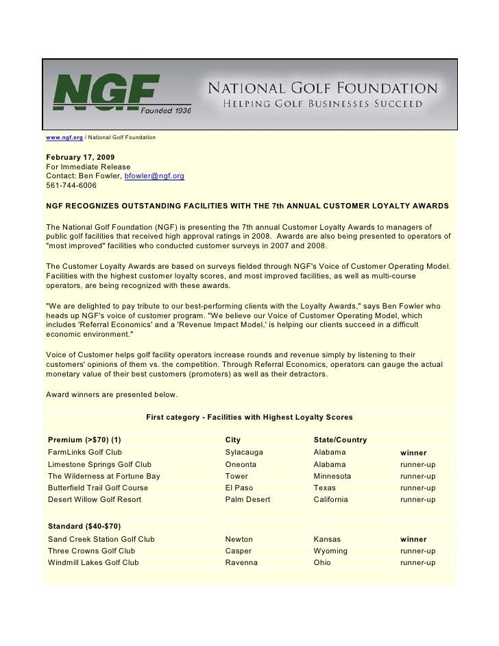 www.ngf.org / National Golf Foundation   February 17, 2009 For Immediate Release Contact: Ben Fowler, bfowler@ngf.org 561-...