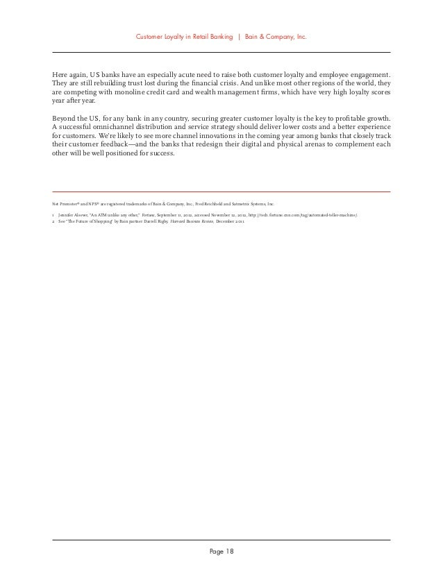 customer loyalty in retail banking 2012