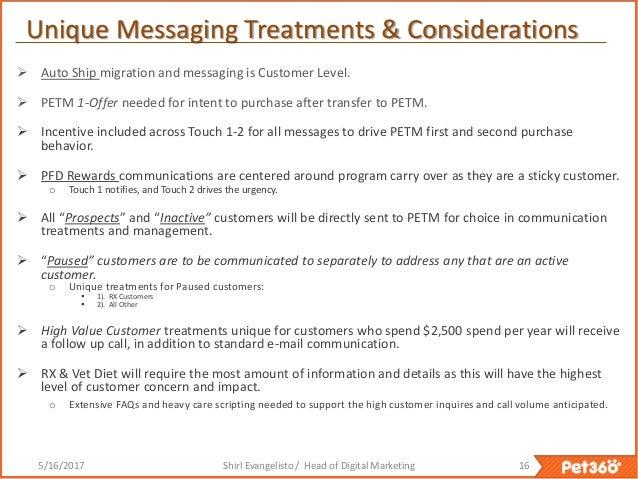 Customer Migration Marketing Plan --> Pet360 Customers to