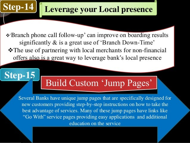 Step-14 Step-15 Leverage your Local presence 'Branch phone call follow-up' can improve on boarding results significantly ...