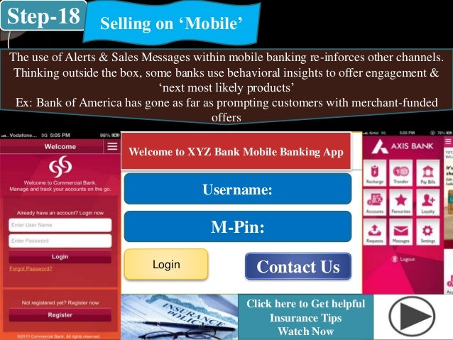 Step-18 Selling on 'Mobile' The use of Alerts & Sales Messages within mobile banking re-inforces other channels. Thinking ...