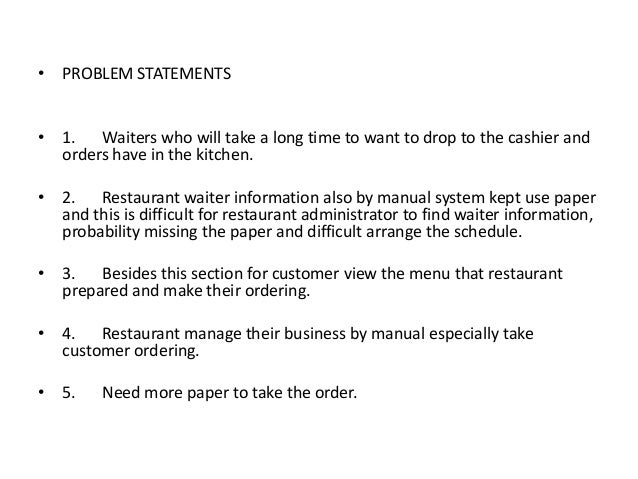 Problem statement for online food ordering system