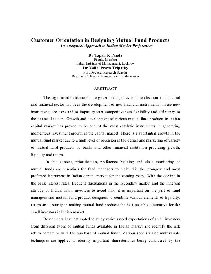Customer Orientation in Designing Mutual Fund Products                 -An Analytical Approach to Indian Market Preference...