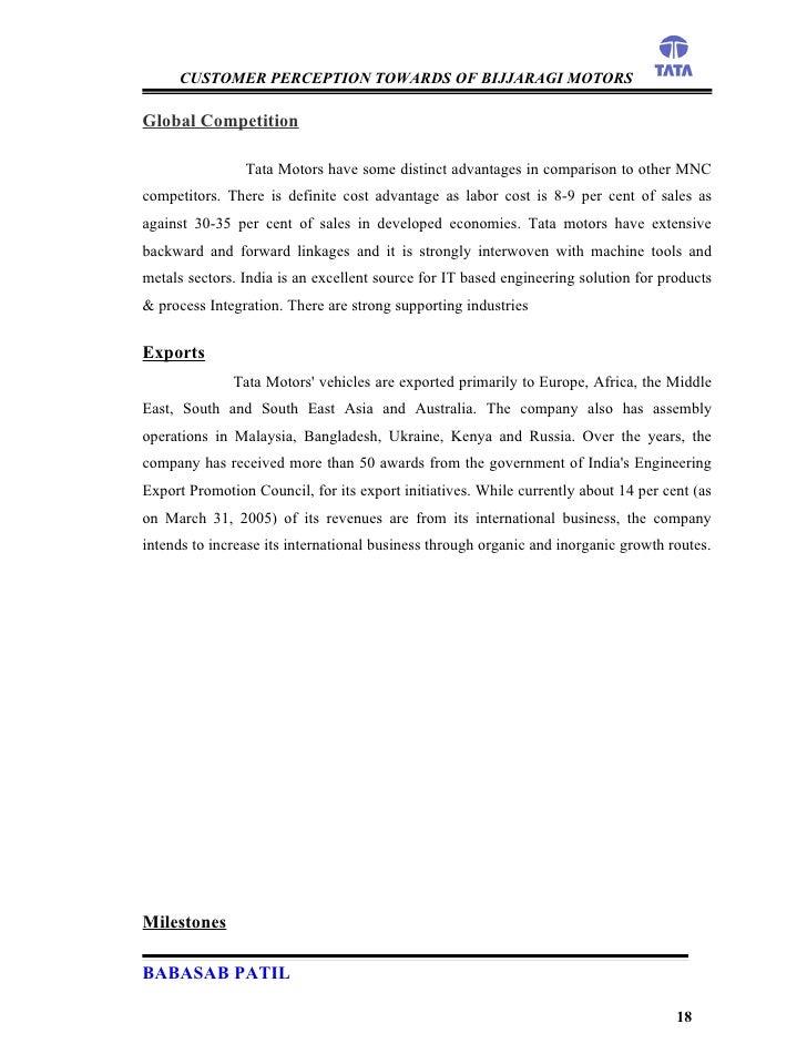 Customer perception bijjaragi motors project report mba for Tata motors recruitment process