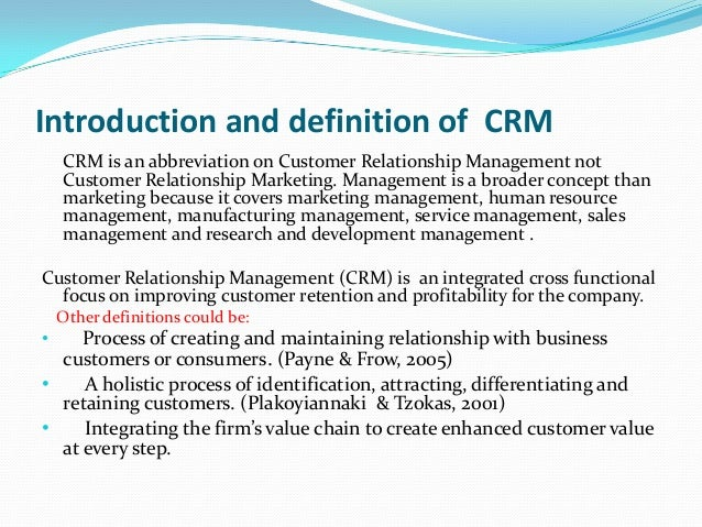 What is 'Customer Relationship Management - CRM'