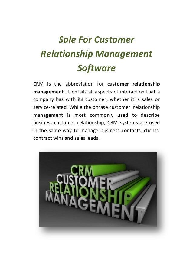 Sale For Customer Relationship Management Software CRM is the abbreviation for customer relationship management. It entail...