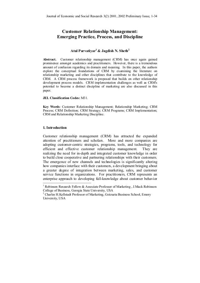 Journal of Economic and Social Research 3(2) 2001, 2002 Preliminary Issue, 1-34  Customer Relationship Management: Emergin...