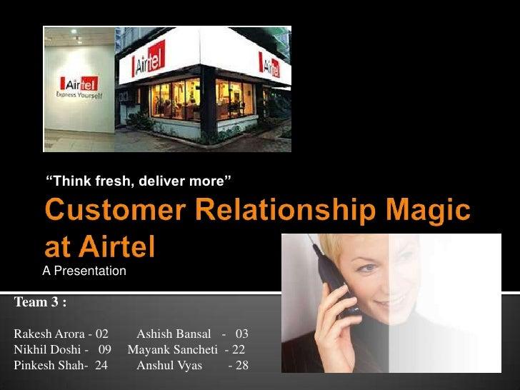 """Think fresh, deliver more""         A Presentation  Team 3 :  Rakesh Arora - 02     Ashish Bansal - 03 Nikhil Doshi - 09  ..."