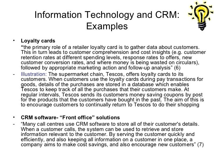 examples of customer relationship management