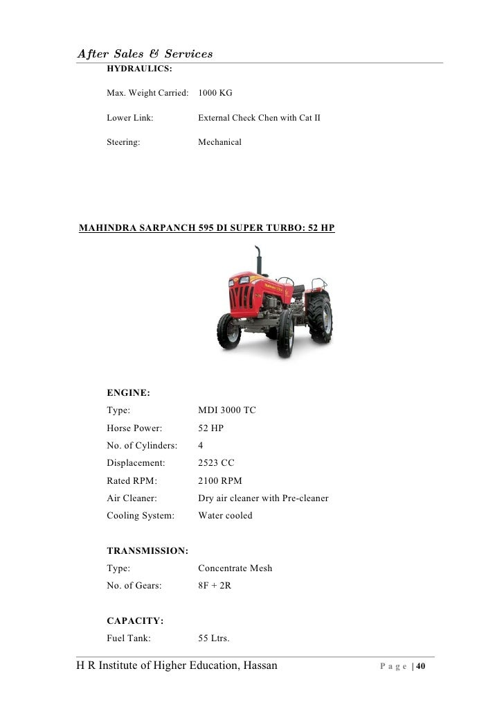 Customer Satisfaction After Sales Services Of Mahindramahindra on Turbo Ii Pre Cleaner