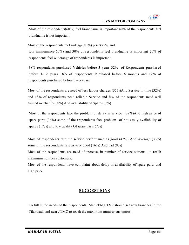 the customer satisfaction survey report for tvs motors The customer satisfaction survey report the customer satisfaction survey report for tvs motors sip project report submitted in partial fulfillment of the requirements for the pgdbm program.