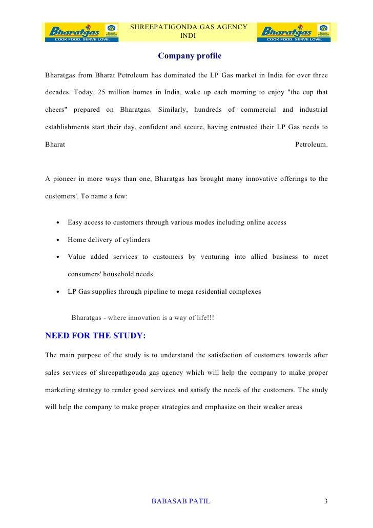Customer satisfaction bharat gas project report mba marketing 3 shreepatigonda gas agency spiritdancerdesigns Images