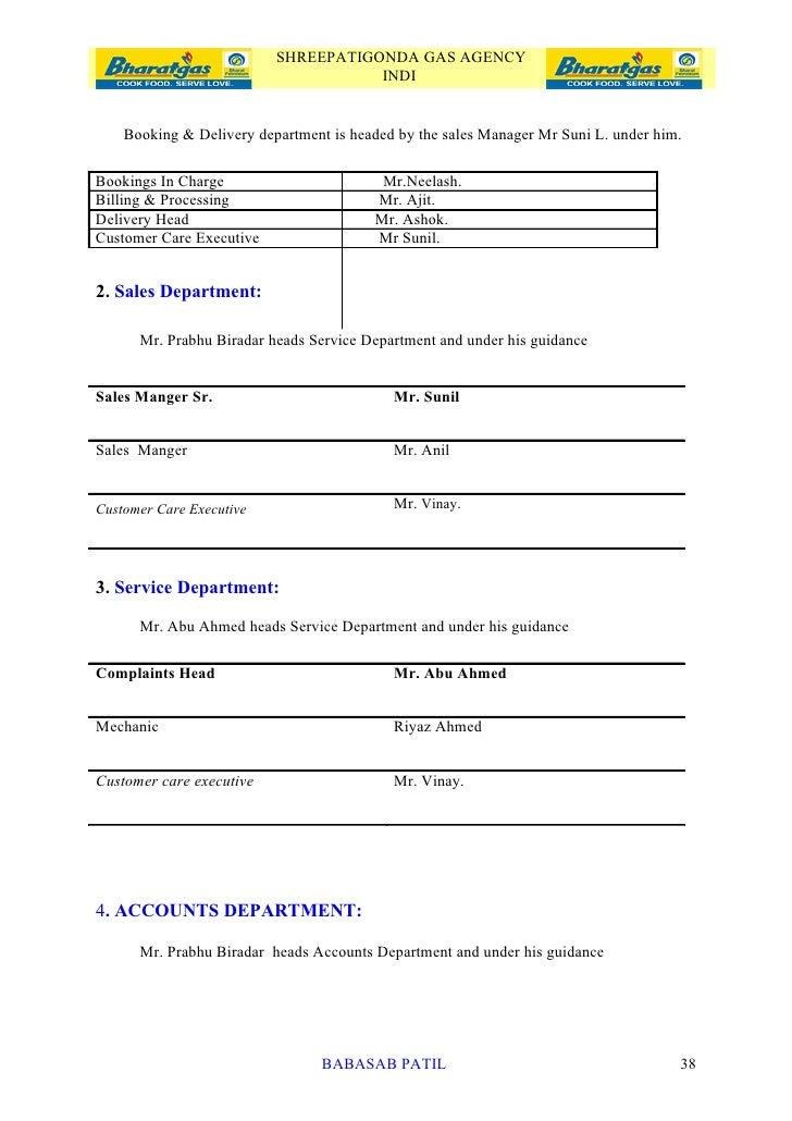 Customer satisfaction bharat gas project report mba marketing booking delivery department babasab patil 37 38 shreepatigonda gas agency spiritdancerdesigns Images