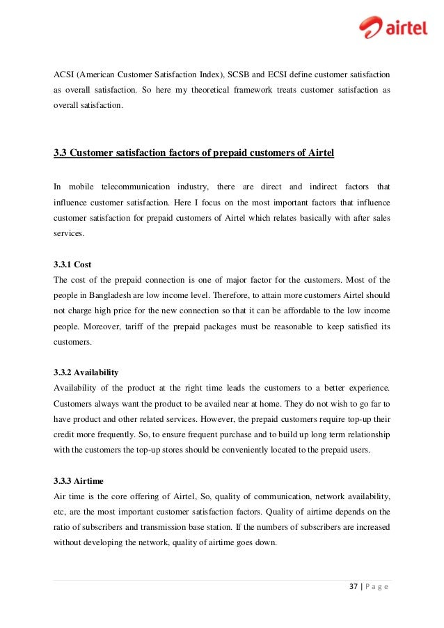 Customer satisfaction level of prepaid subscribers of airtel banglade fandeluxe Gallery