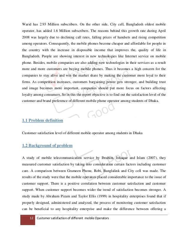 research papers on customer satisfaction of mobile handsets A research proposal: the relationship between customer satisfaction and consumer loyalty jiana daikh this research paper is brought to you for free and open access by the the alan shawn feinstein graduate school at that customer satisfaction will significantly lead to customer loyalty.