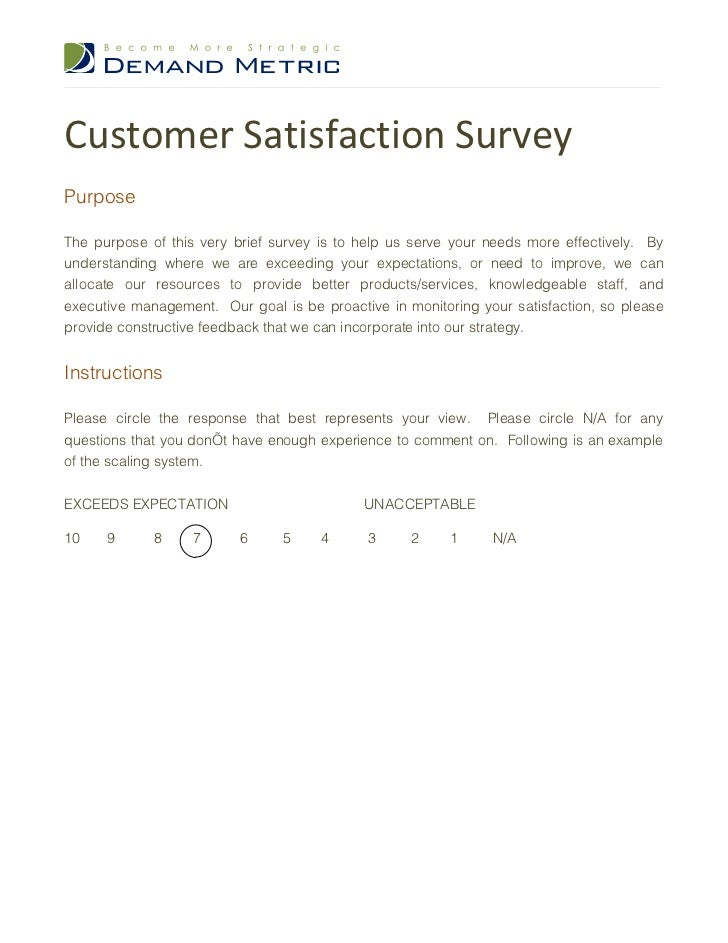 Standard questionnaire for customer perception