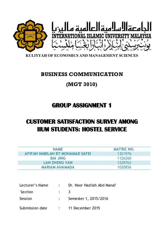 Customer Satisfaction Survey Among IIUM Students: Hostel Service