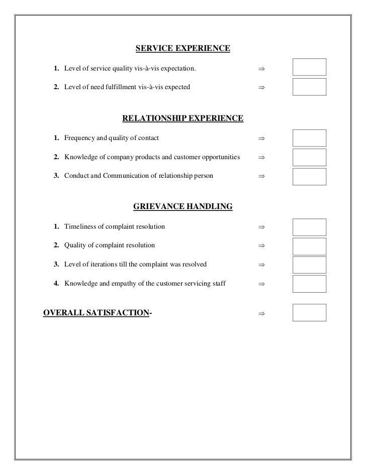 customer service questionnaire