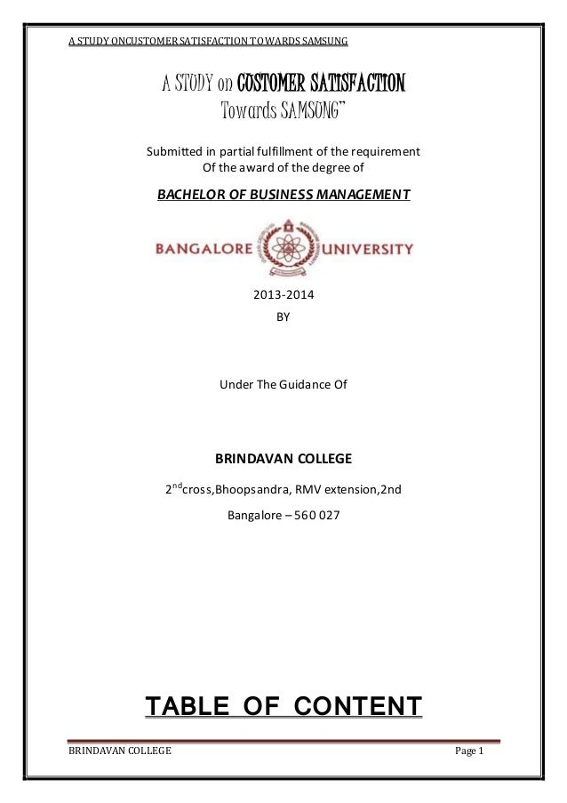 "A STUDY ONCUSTOMERSATISFACTION TOWARDS SAMSUNG BRINDAVAN COLLEGE Page 1 A STUDY on CUSTOMER SATISFACTION Towards SAMSUNG"" ..."