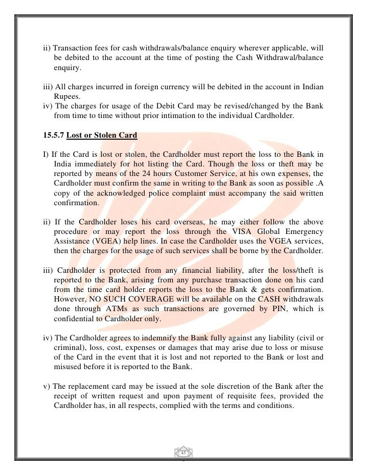 letter for lost atm card