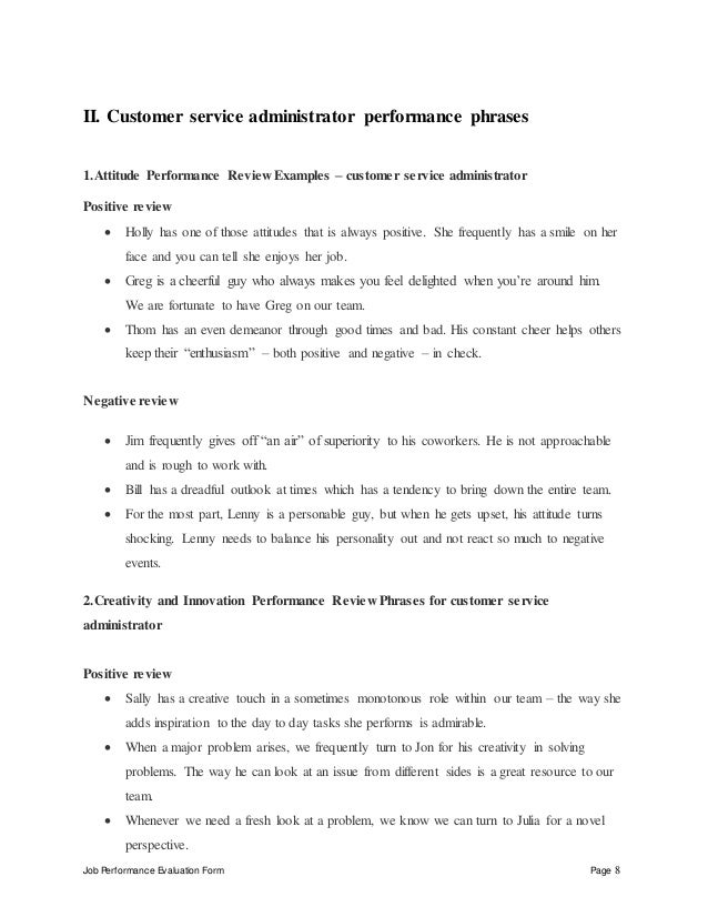 customer-service-administrator-perfomance-appraisal-2-8-638 Sales Manager Performance Evaluation Examples on filled out, forms for job, to write, for teamwork, employee work,