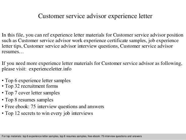 Customer Service Advisor Experience Letter In This File, You Can Ref  Experience Letter Materials For Experience Letter Sample ...