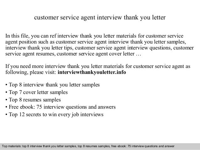 Customer Service Agent Interview Thank You Letter In This File Can Ref