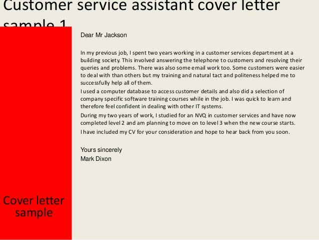 Customer service assistant cover letter for Examples of cover letters for customer service positions