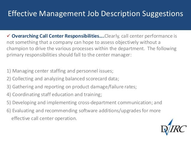 58. Effective Management Job Description Suggestions  Overarching Call  Center Responsibilitiesu2026  Call Center Manager Job Description