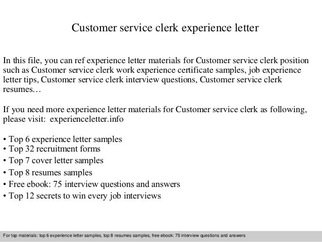customer service clerk experience letter in this file you can ref experience letter materials for