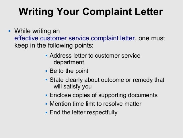 Writing a customer complaint letter