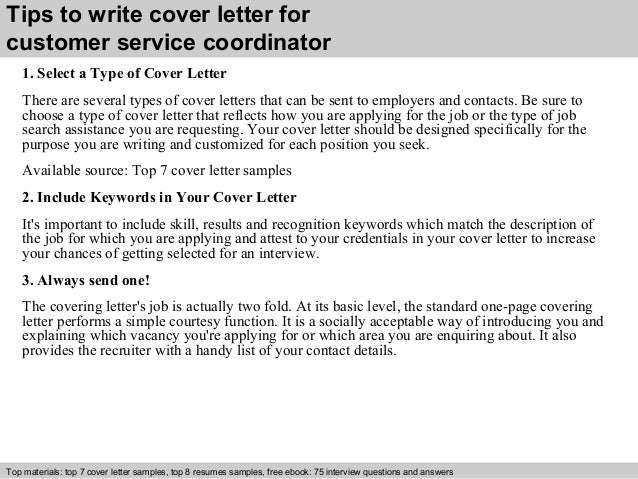 customer service coordinator cover letters
