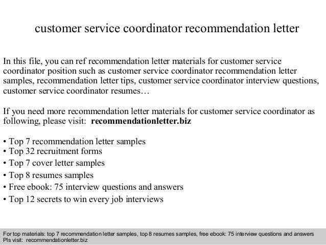 Customer service coordinator recommendation letter